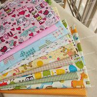 10 Assorted Cartoon Animals Pre-Cut Twill Cotton Quilt Fabric Fat Quarter Tissue Bundle, Charm Sewing Handmade Textile 45x45cm