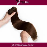 6A #4 Medium Brown 12-26 Inches Straight Silk Soft Sew in Weft 100% Real man Hair Extension Brazilian Virgin Hair 100g/pc