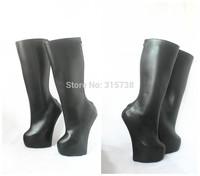 Black matt knee high 20CM heel-less fetish boots,size 36,37,38,39,40,41,42,43,44,45,46