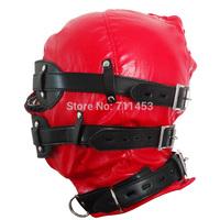 Red Hoods Mask Restraints Fetish PVC Soft Leather Sex Set Slave Harness Goggles Multiplex Adult Sex Game
