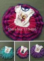Frozen Dress Elsa Frozen Princess Girls  New 2014 Cartoon Print Girls Casual Dressess Children Clothing 6 colors