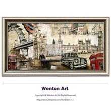 Paisagem Cidade do vintage a mundialmente famosa pintura do edifício no algod?o Canvas Art Prints Imagem Decora??o CB002 40x80cm(China (Mainland))