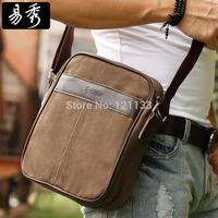 Spring 2014 Eshow Brand men's messenger bags vintage canvas bag black brown shoulder bags BFK010421