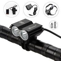Free shipping 5000 Lumens SolarStorm 2x CREE XM-L U2 LED Bike light Bicycle lamp HeadLight Headlamp 8.4v battery Headband