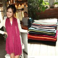 Wholesale 2014 Hot Sale Cotton Solid Color Shawl Stole Soft  Women Scarves Neckerchief 16 Color For Chosen