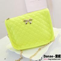 BOW lady Women shoulder bags 2014 Chain PU leather Plaid Shoulder Messenger quited Handbag female small mobile coin shoulder bag
