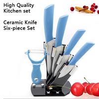 "2014 Faca 3"" 4"" 5"" 6"" Inch Brand Paring Fruit Utility Chef Kitchen Ceramic Knife 6pcs Set Gift +ceramic Parer Knife+knife Block"