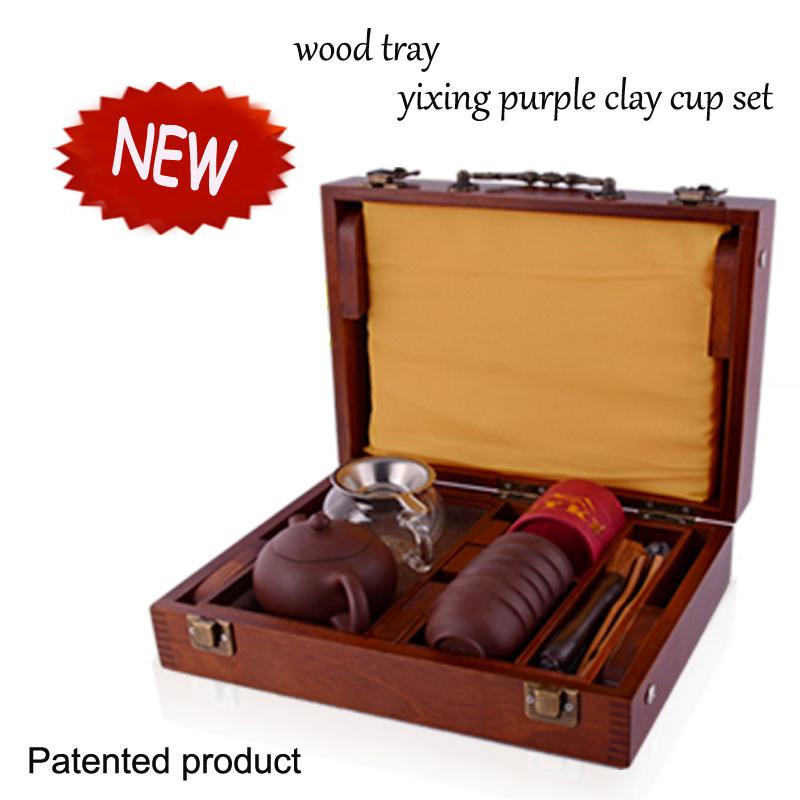 yixing tea cup Solid wood tea tray Chinese portable outdoor travel tea sets Kung fu tea