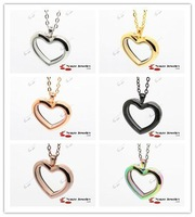 Free Shipping Heart 316L Stainless Steel  Pendant Floating Wholesale Glass Locket