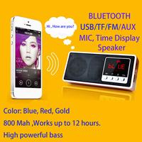 Soundbar speaker BLUETOOTH/USB/TF/FM/AUX/Time/LCD Mini portable Speaker computer note book speaker for mobile lithium battery