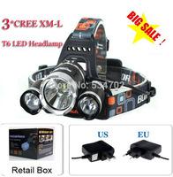 3T6 Headlamp 5000 Lumens 3 x Cree XM-L T6 Head Lamp High Power LED Headlamp Head Torch Lamp Flashlight Head +eu/us/au charger