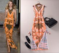 2015 runway dress women's High quality vintage long dresses brand dresses