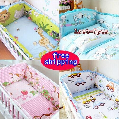 Baby bedding sets unisex bumper, 100% cotton cartoon crib bumpers, custom bedding, baby products hello kitty ,4 bumper + sheet(China (Mainland))