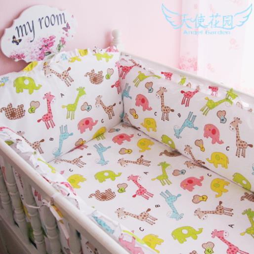 HOT Baby bedding kit piece set 100% cotton crib bedding package, boys and girls cartoon pattern cotton bed around gift sheet(China (Mainland))