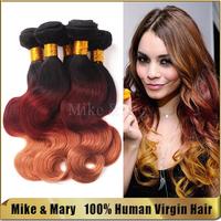 Free shipping 5 bundles 7A Unprocessed Malaysian Human Virgin Hair 3 tone T#1b/33/27 Body Wave Malaysian Ombre Virgin Hair