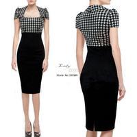 S M L XL XXL Plus Size 2014 New Fashion Women Summer Dress Knee Length Black Bodycon Bandage Dress Casual Dress b7 SV002443