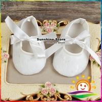 Ivory Baby Infant shoes girls Anti-slip soft sole prewalker christening baptism zapatillas bebe lace sandals #2X0124 3 pair/lot
