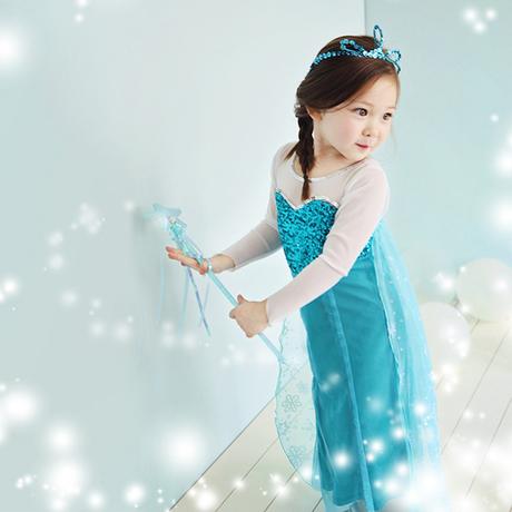 Elsa Costume 2014 NEW summer Girl Dress frozen elsa dress queen process blue dresses dream child kids baby child clothes(China (Mainland))