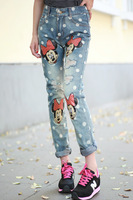 2014 spring new Korean women BF purchasing wind do the old Mickey printing dots washed jeans hole