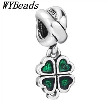 X319 Green Flower Pendant 925 Sterling Silver European Charm Bead for Bracelet