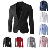 New Arrival Single Button Leisure Blazers Men Male 2015 Korean Fashion Slim Fit Casual Red Navy Blue Blazer Dress Clothing M-4XL
