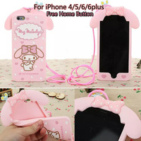 Cute Cartoon My Melody Soft Case Silicon Bow  Cover for iPhone 4 4s 5 5s 6 6plus With Strap 1pcs Home button Free Shipping