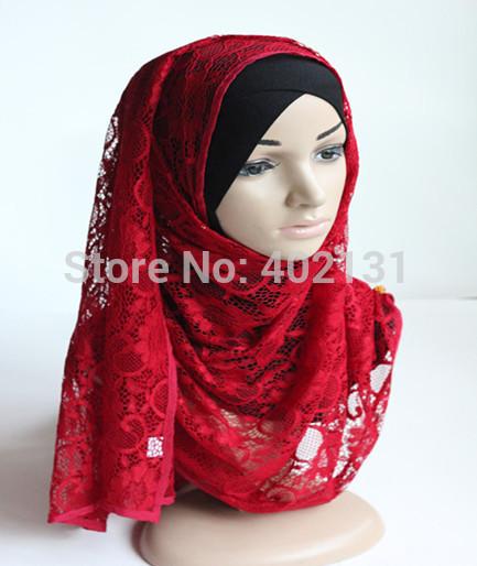 Free shipping 180*70cm lace shawls,lace sscarf, winter scaf , muslim lace hijab, D702(China (Mainland))