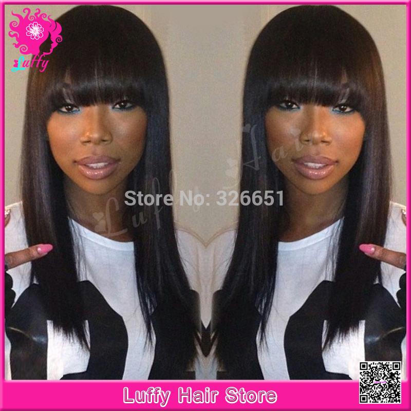 Cheap Wholesale Price Brazilian Light Yaki Full Lace Wig With Bangs Glueless Virgin Human Hair Italian Yaki Wigs For Black Women(China (Mainland))