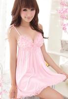 Sexy Lingerie Pink Lace Dress+G String Sexy Sleepwear,Underwear ,Uniform ,Kimono Costume Free Size #2 SV002394