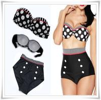 Good Quality Drop&Free Shipping  2014 Women High Waist Swimsuit  Sex High Waist Swimwear Up High Waist Bikini Set Size S/M/L/XL