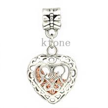 1 Piece 2014 New Arrival 925 Silver Beads Heart Pendants Fit European Pandora Charms Bracelet Necklace
