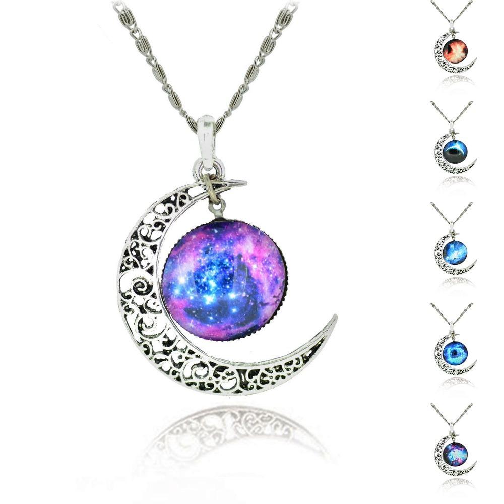 Brand Fashion Jewelry Choker Necklace Glass Galaxy Lovely Pendant Silver Chain Moon Necklace & Pendant 2014 AliExpress Sale(China (Mainland))