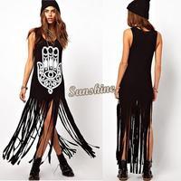 High Quality 2014 New Sexy Women summer Sundress Europe Street Style Exaggerated Printed Tassel Tank Long Dress 29
