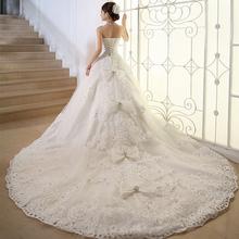 Luxury Crystal Plus Size Wedding Dress Long Train Ivory Bead Paillette Slim Royal Train Wedding Dress 2015 Vestido de noiva M688(China (Mainland))