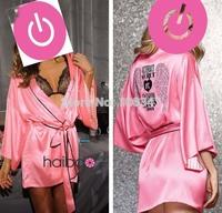 Sexy Lingerie Hot Diamante Crystal Victoria Faux Silk Love Pink Satin Kimono Robe & Bathrobe Sexy Nightgown Vestidos Women