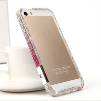 2014 New Luxury Bling DIY Handmade Diamond Crystal Gradient Hard Bumper Frame Cases Cover For Apple iphone 4 4G 4S 5 5G 5S Shell