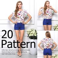 SZ028 S-XXLHot Sale Free Shipping Sexy Women Colorful Birds Chiffon shirt Batwing Loose Blouse Casual Tops  Blusas Femininas