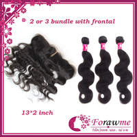 5A remy virgin lace frontal with bundles brazilian virgin hair body wave 13*2 inch frontal middle free three side part Forawme