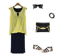 2014 Hot New Stylish Women's Fashion Lady Chiffon Tops + Dress two Piece Set Sleeveless Casual Dresses B12 SV003329