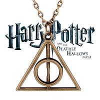 2014 New Fashion Harry Potty Pendant Necklace Vintage Antique Gold Long Chain Triangle Necklaces Pendants For Men Wholesale