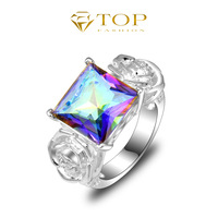new 2014 summer romantic rose brand mystic topaz rings for women wedding 925 sterling silver plated jewelry floating charming
