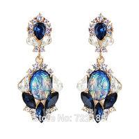 Vintage Style Colorful Rhinestone Simulated Diamond Drop Earrings Fashion Jewelry 2014 Brincos  For Women
