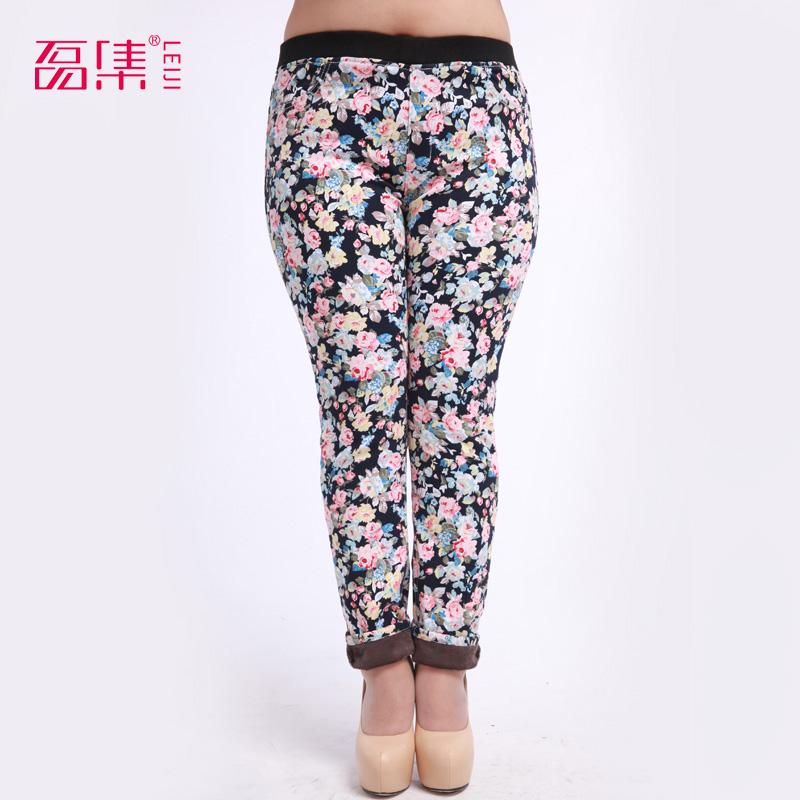 2014 più in pile di stampa i pantaloni a matita plus size s-6xl bootcuts femminile pantaloni skinny pants