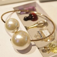 Big Pearl Crystal Gem Ethnic Gold Torques Choker Collar Statement Necklaces & Pendants New Fashion Jewelry Women Wholesale N88