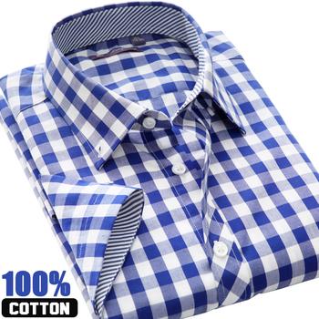 2014 man Короткий Рукав Модный causal shirt summer turn-down Воротник plaid 100% ...
