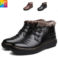 2014 Winter Sneakers New Stylish mens snow boots genuine leather Lace-Up Warm Plush Fur Boots Cow Leather Business Shoes MS6100