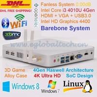 Barebone PC HTPC 4K HD Kodi Haswell SoC Design Intel Core i3 4010U Mini PC Windows Industrial Computer 3 Years Warranty DHL Free