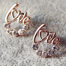 heart letter love rhinestone korean fashion bijoux brand statement stud earrings for women pendientes brincos jewelry