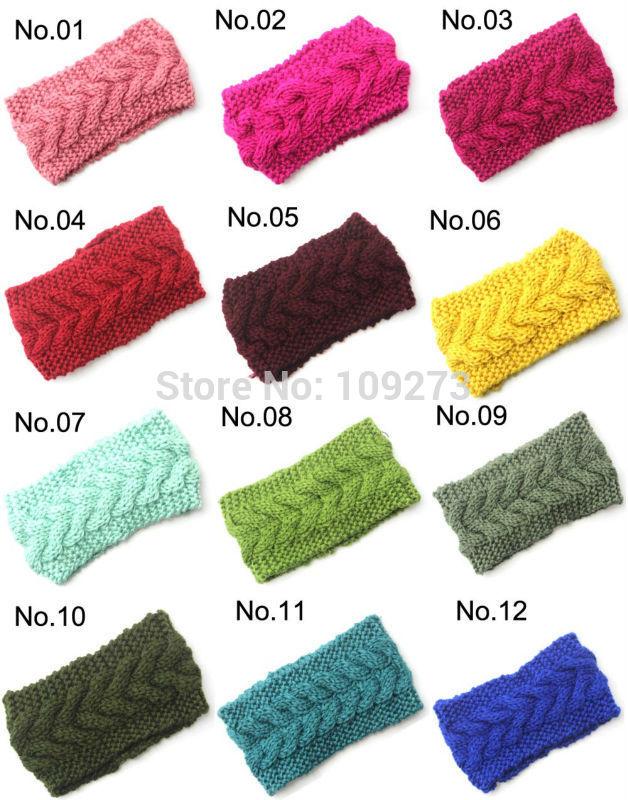 Knit braid Headband head wrap Handmade Knit Ear Warmers Cable Headband 24 Colors(China (Mainland))