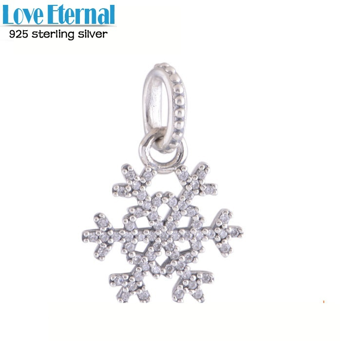new 2014 clear cz pave snowflake dangle charms fits pandora bracelets authentic 925 sterling silver jewelry for women diy design(China (Mainland))